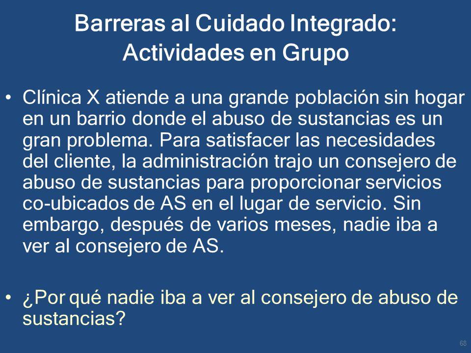Barreras al Cuidado Integrado: Actividades en Grupo Clínica X atiende a una grande población sin hogar en un barrio donde el abuso de sustancias es un