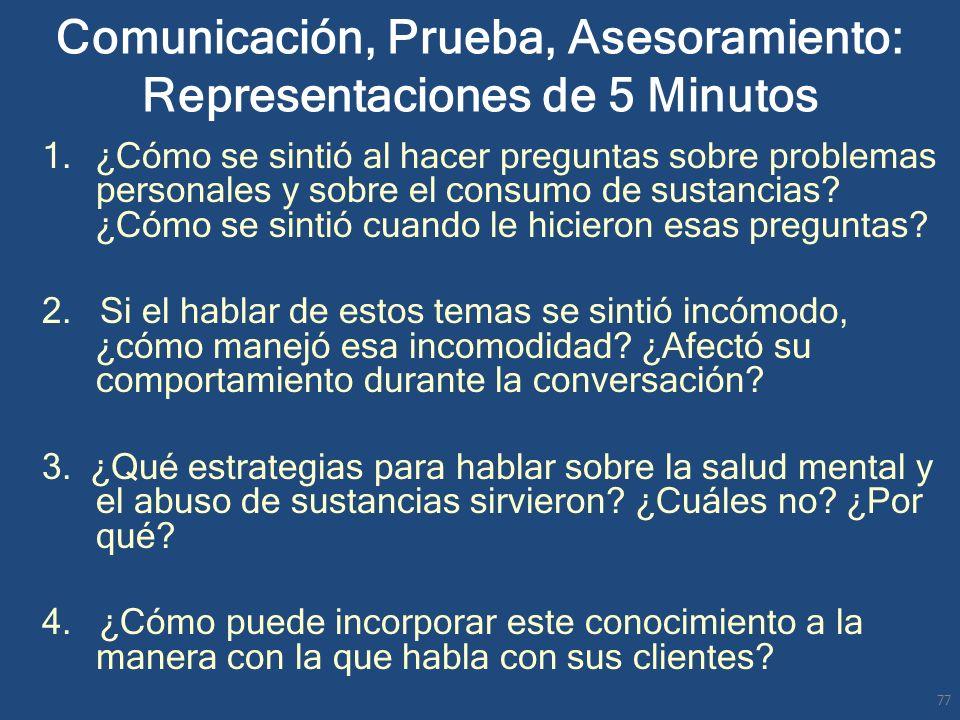 Comunicación, Prueba, Asesoramiento: Representaciones de 5 Minutos 1.¿Cómo se sintió al hacer preguntas sobre problemas personales y sobre el consumo