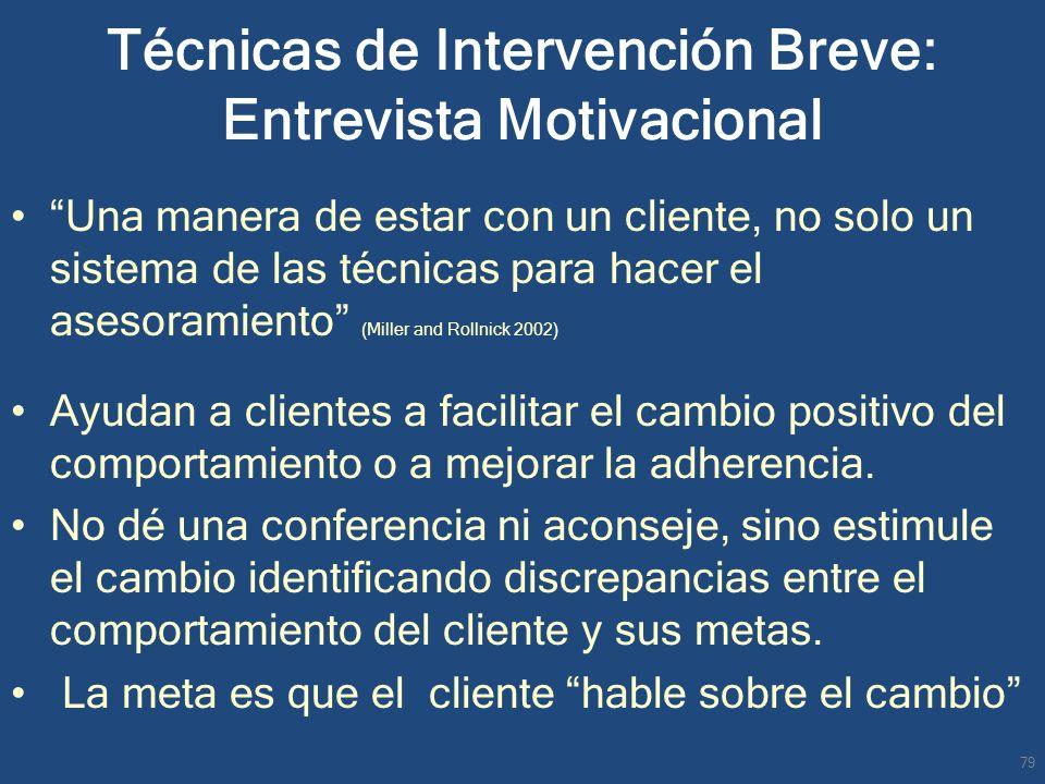 Técnicas de Intervención Breve: Entrevista Motivacional Una manera de estar con un cliente, no solo un sistema de las técnicas para hacer el asesorami
