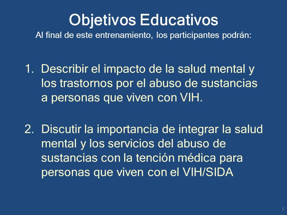 Objetivos Educativos Al final de este entrenamiento, los participantes podrán: 1. Describir el impacto de la salud mental y los trastornos por el abus