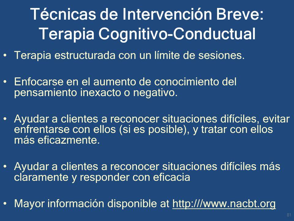 Terapia estructurada con un límite de sesiones. Enfocarse en el aumento de conocimiento del pensamiento inexacto o negativo. Ayudar a clientes a recon