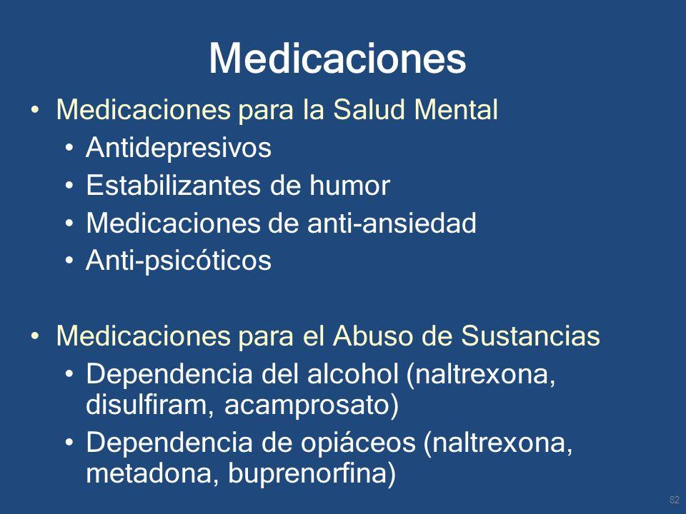 Medicaciones Medicaciones para la Salud Mental Antidepresivos Estabilizantes de humor Medicaciones de anti-ansiedad Anti-psicóticos Medicaciones para