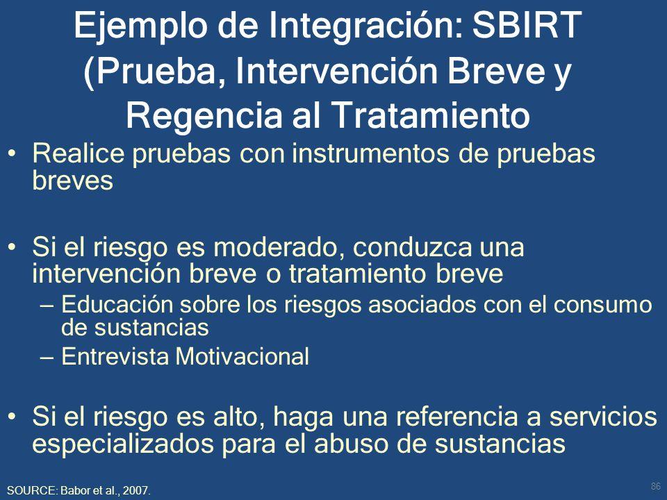 Ejemplo de Integración: SBIRT (Prueba, Intervención Breve y Regencia al Tratamiento Realice pruebas con instrumentos de pruebas breves Si el riesgo es