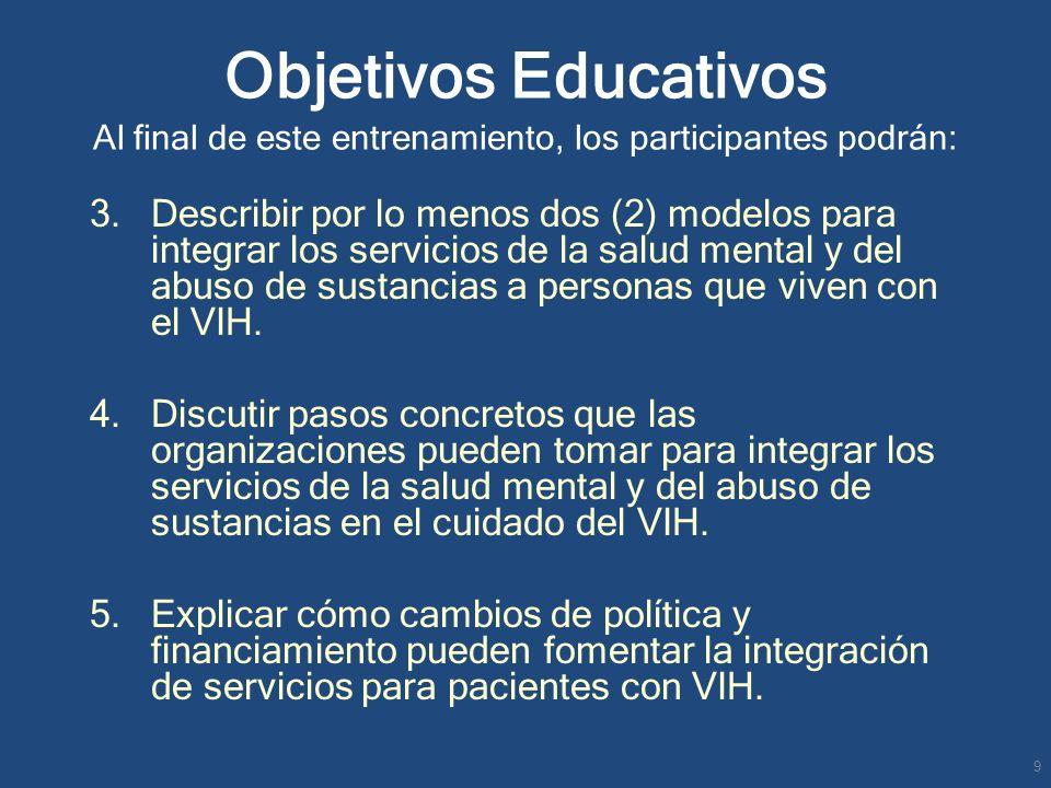 3. Describir por lo menos dos (2) modelos para integrar los servicios de la salud mental y del abuso de sustancias a personas que viven con el VIH. 4.