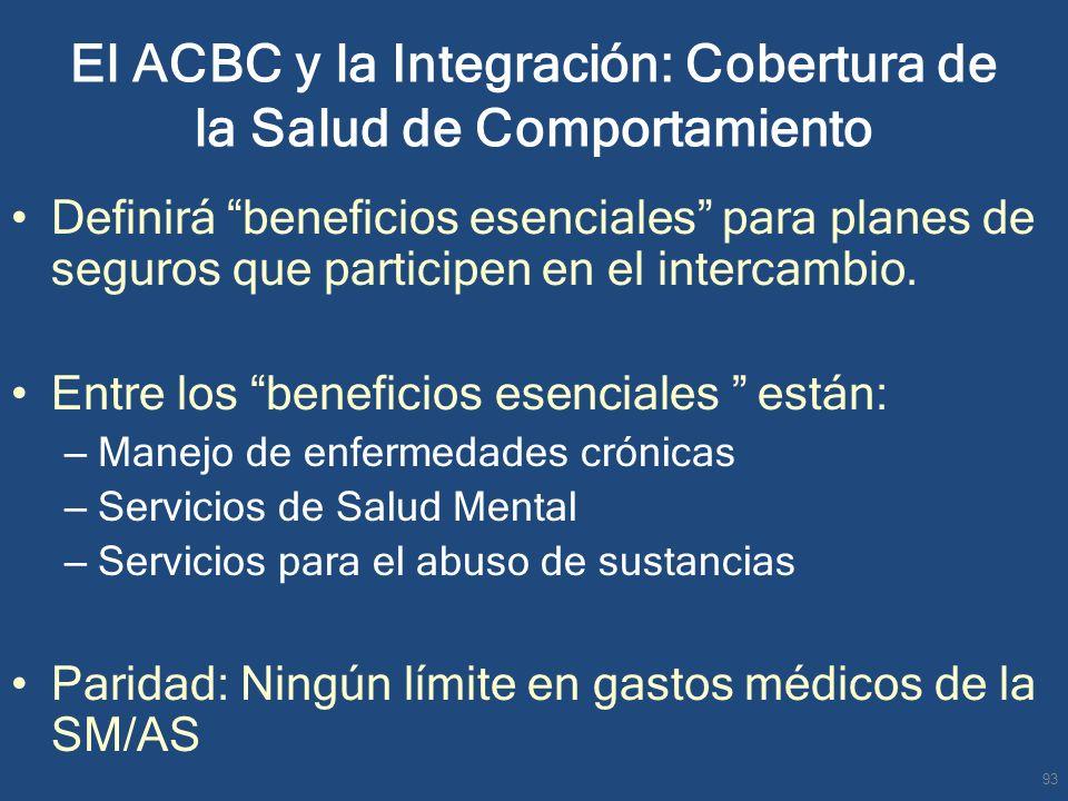 El ACBC y la Integración: Cobertura de la Salud de Comportamiento Definirá beneficios esenciales para planes de seguros que participen en el intercamb