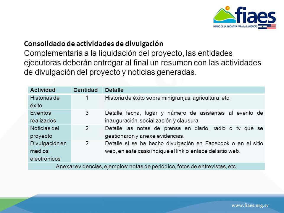 ActividadCantidadDetalle Historias de éxito 1Historia de éxito sobre minigranjas, agricultura, etc.