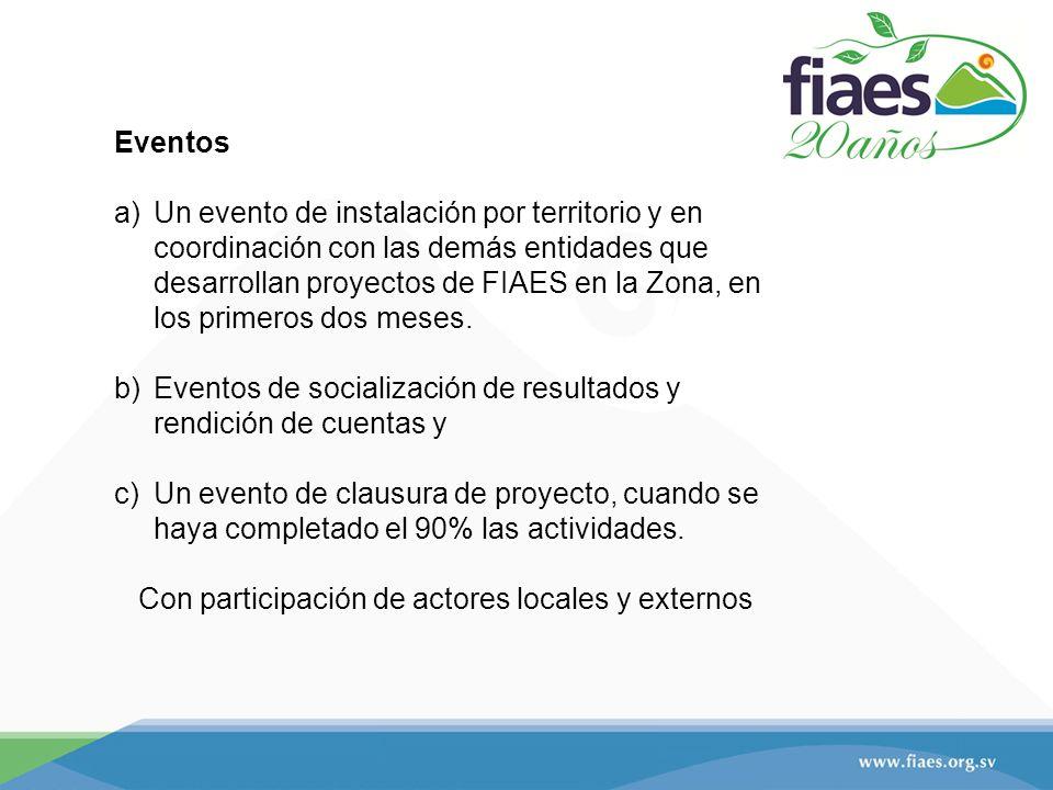 Eventos a)Un evento de instalación por territorio y en coordinación con las demás entidades que desarrollan proyectos de FIAES en la Zona, en los primeros dos meses.