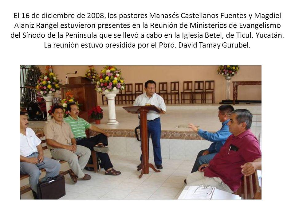 El 16 de diciembre de 2008, los pastores Manasés Castellanos Fuentes y Magdiel Alaniz Rangel estuvieron presentes en la Reunión de Ministerios de Evan