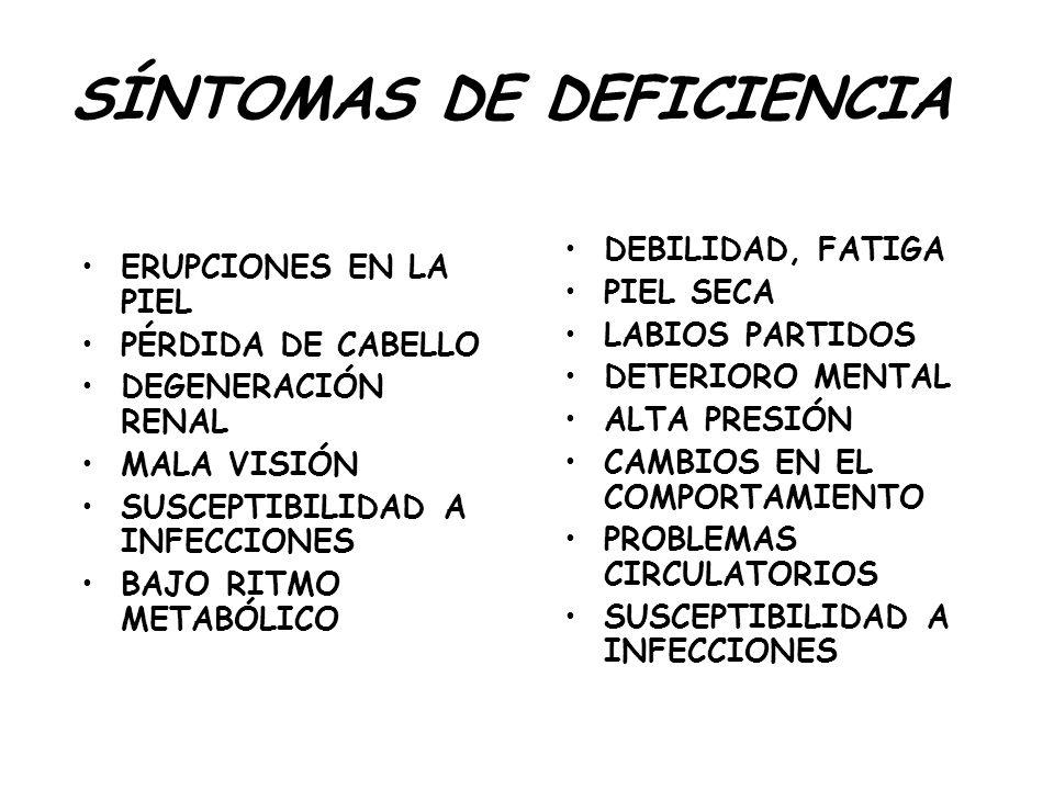 SÍNTOMAS DE DEFICIENCIA ERUPCIONES EN LA PIEL PÉRDIDA DE CABELLO DEGENERACIÓN RENAL MALA VISIÓN SUSCEPTIBILIDAD A INFECCIONES BAJO RITMO METABÓLICO DE