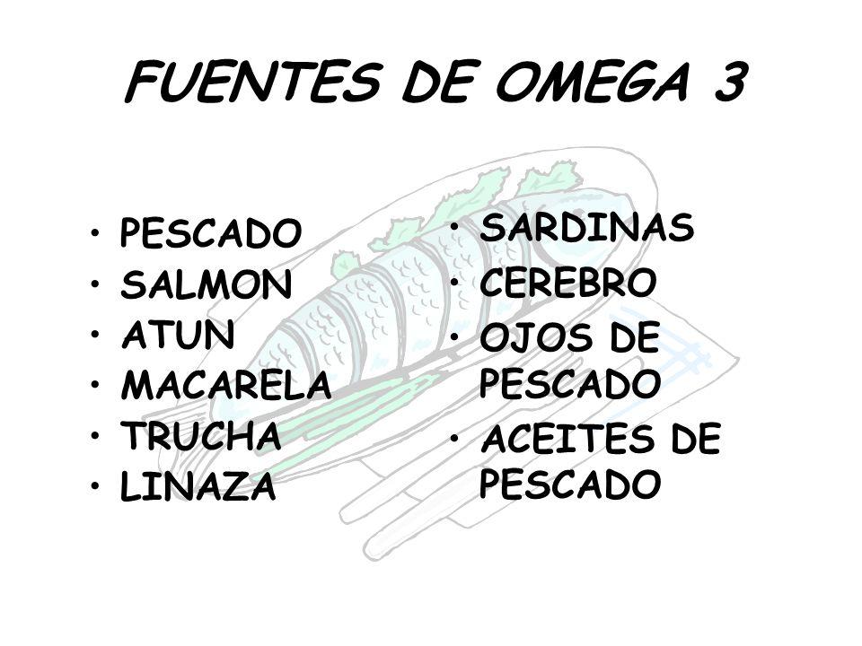 FUENTES DE OMEGA 3 PESCADO SALMON ATUN MACARELA TRUCHA LINAZA SARDINAS CEREBRO OJOS DE PESCADO ACEITES DE PESCADO