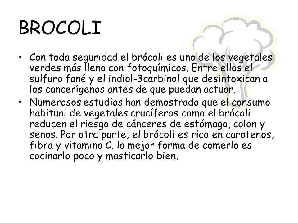 BROCOLI Con toda seguridad el brócoli es uno de los vegetales verdes más lleno con fotoquímicos. Entre ellos el sulfuro fané y el indiol-3carbinol que