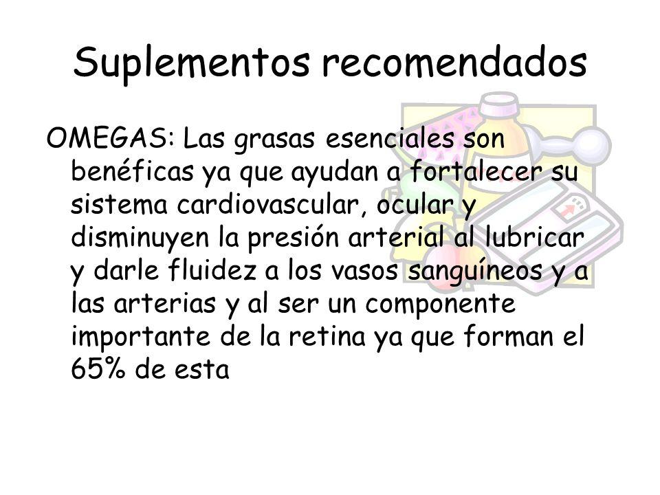 Suplementos recomendados OMEGAS: Las grasas esenciales son benéficas ya que ayudan a fortalecer su sistema cardiovascular, ocular y disminuyen la pres