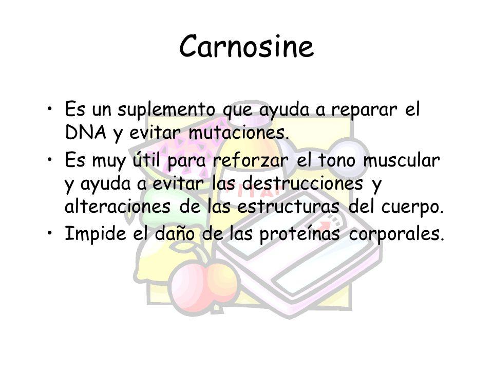 Carnosine Es un suplemento que ayuda a reparar el DNA y evitar mutaciones. Es muy útil para reforzar el tono muscular y ayuda a evitar las destruccion