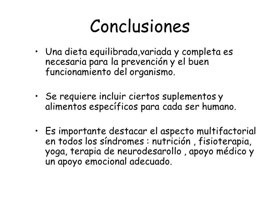 Conclusiones Una dieta equilibrada,variada y completa es necesaria para la prevención y el buen funcionamiento del organismo. Se requiere incluir cier