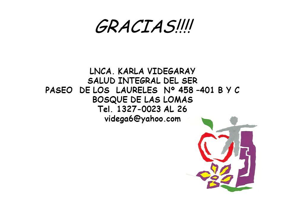 GRACIAS!!!! LNCA. KARLA VIDEGARAY SALUD INTEGRAL DEL SER PASEO DE LOS LAURELES Nº 458 –401 B Y C BOSQUE DE LAS LOMAS Tel. 1327-0023 AL 26 videga6@yaho