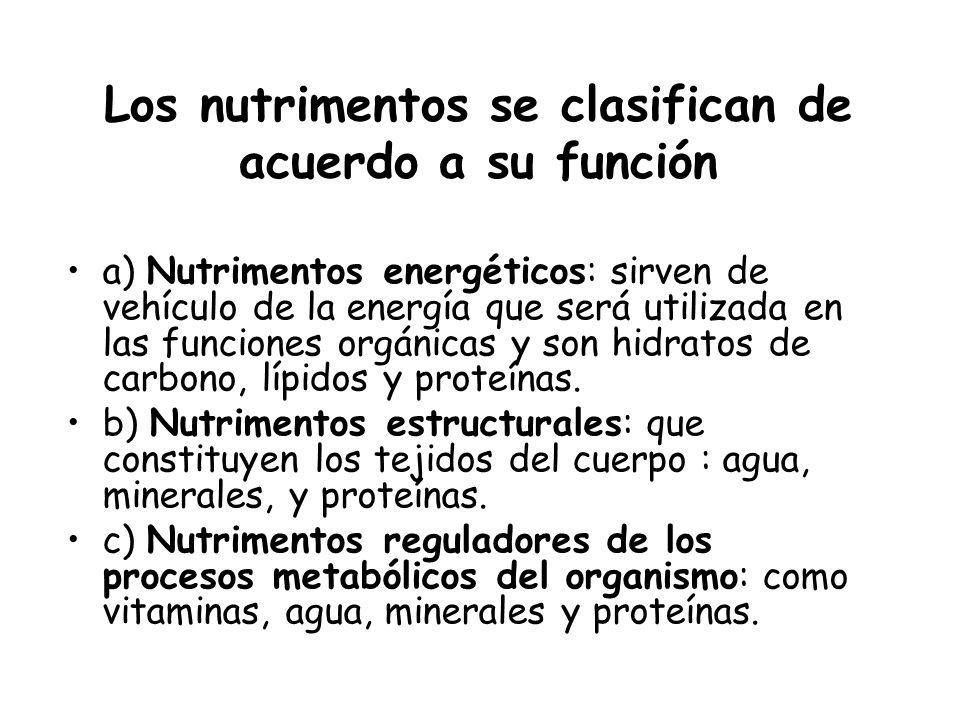 Los nutrimentos se clasifican de acuerdo a su función a) Nutrimentos energéticos: sirven de vehículo de la energía que será utilizada en las funciones