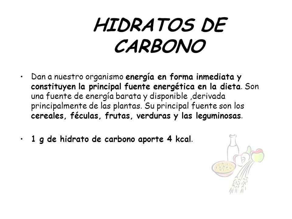 HIDRATOS DE CARBONO Dan a nuestro organismo energía en forma inmediata y constituyen la principal fuente energética en la dieta. Son una fuente de ene