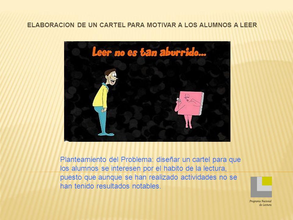 ELABORACION DE UN CARTEL PARA MOTIVAR A LOS ALUMNOS A LEER Planteamiento del Problema: diseñar un cartel para que los alumnos se interesen por el habi
