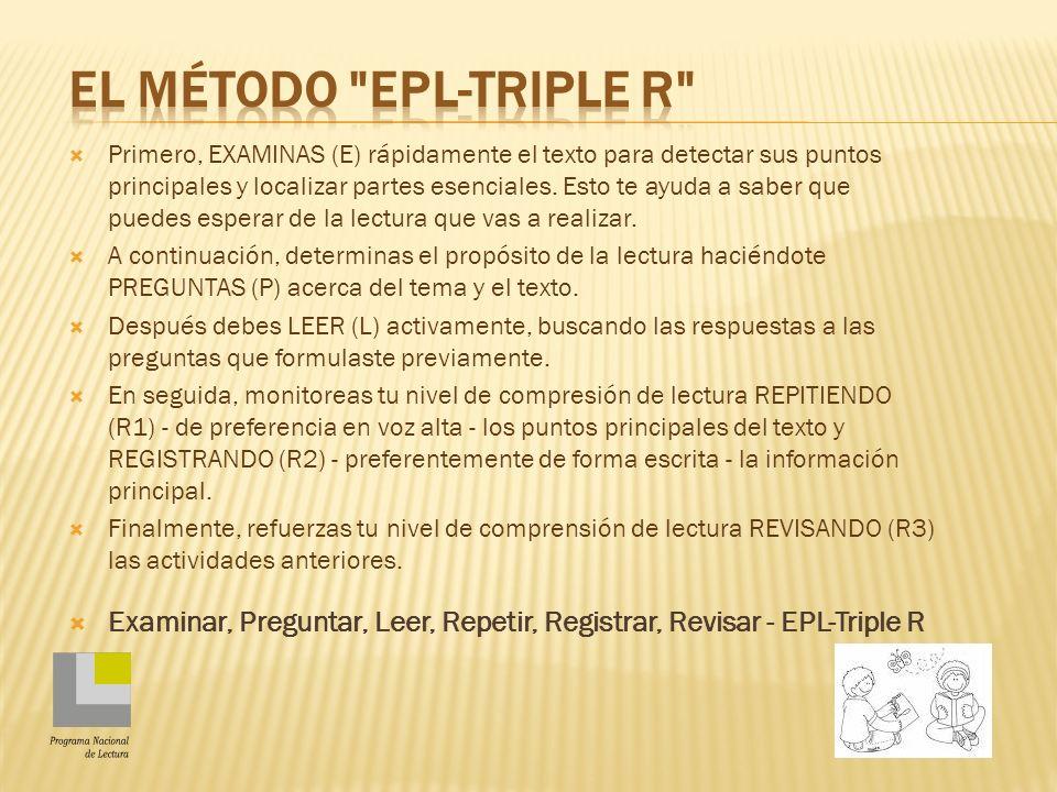 Primero, EXAMINAS (E) rápidamente el texto para detectar sus puntos principales y localizar partes esenciales.