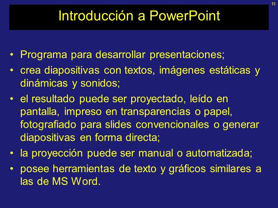 12 Utilización de PowerPoint Equipamiento y programas: –Computadora con Windows 95 en adelante (propia o disponible) –PowerPoint 95 en adelante –Neces