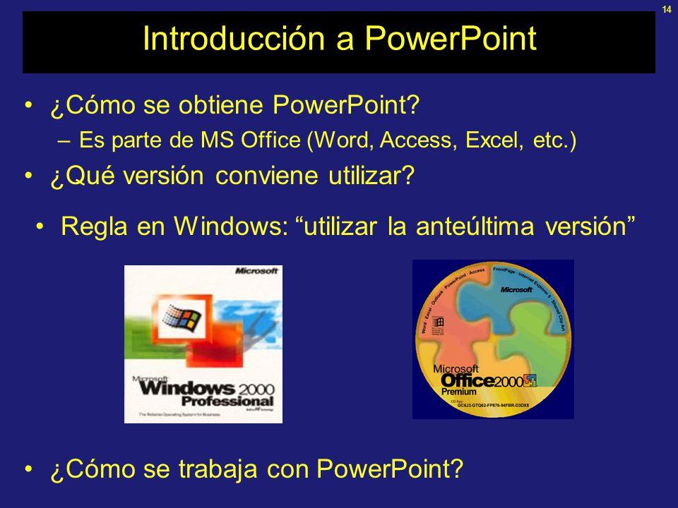 13 Introducción a PowerPoint Programa para desarrollar presentaciones; crea diapositivas con textos, imágenes estáticas y dinámicas y sonidos; el resu