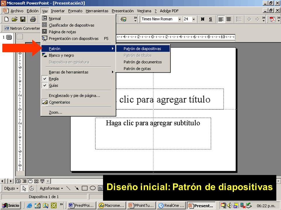 36 Diseño inicial: Patrón de diapositivas Herramienta potente, ahorra tiempo y sistematiza el trabajo Acceso: Ver Patrón de diapositiva