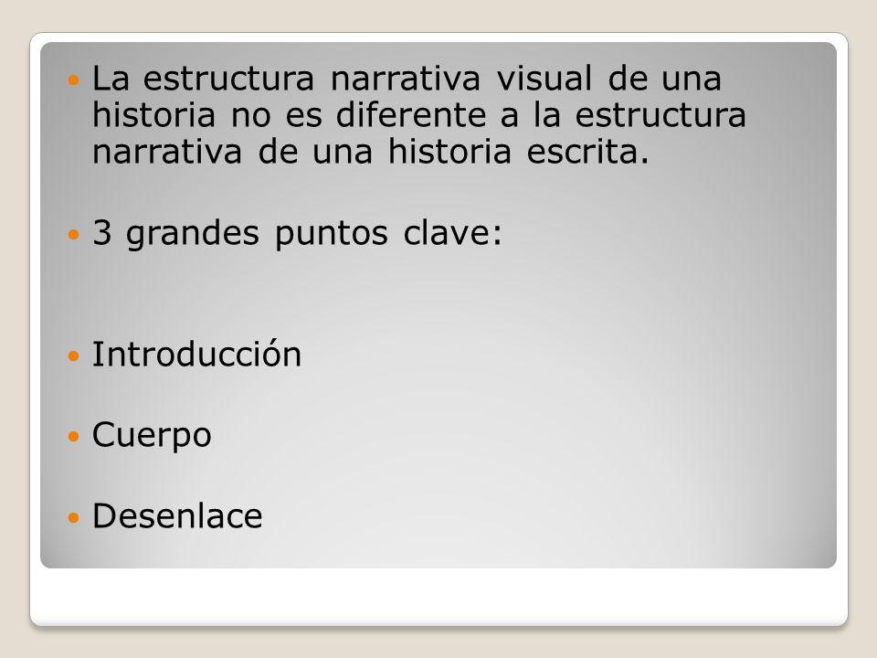 La estructura narrativa visual de una historia no es diferente a la estructura narrativa de una historia escrita. 3 grandes puntos clave: Introducción