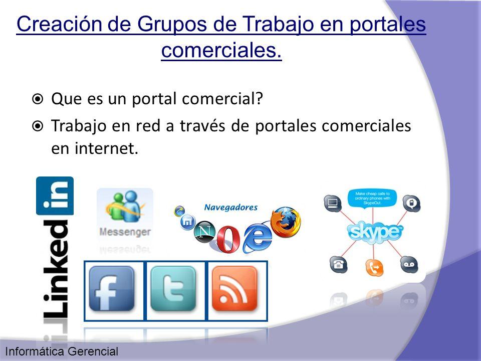 Creación de Grupos de Trabajo en portales comerciales. Que es un portal comercial? Trabajo en red a través de portales comerciales en internet. Inform