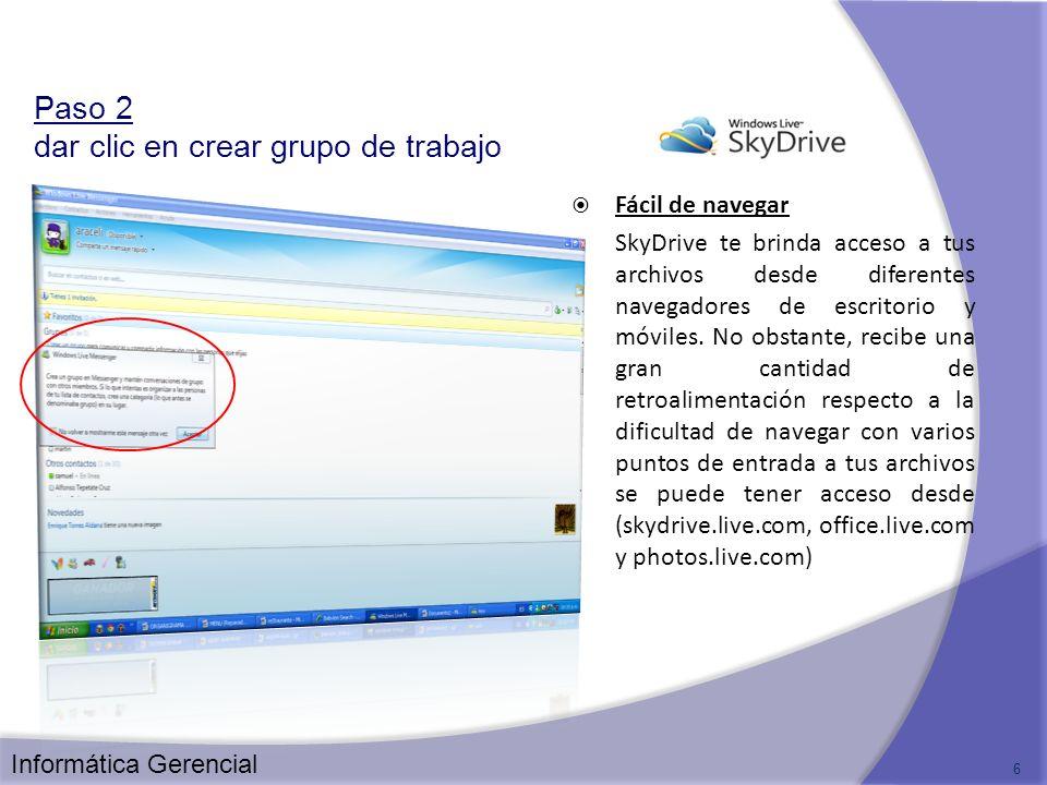 Fácil de navegar SkyDrive te brinda acceso a tus archivos desde diferentes navegadores de escritorio y móviles. No obstante, recibe una gran cantidad