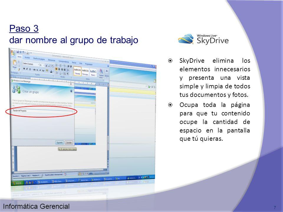 SkyDrive elimina los elementos innecesarios y presenta una vista simple y limpia de todos tus documentos y fotos. Ocupa toda la página para que tu con
