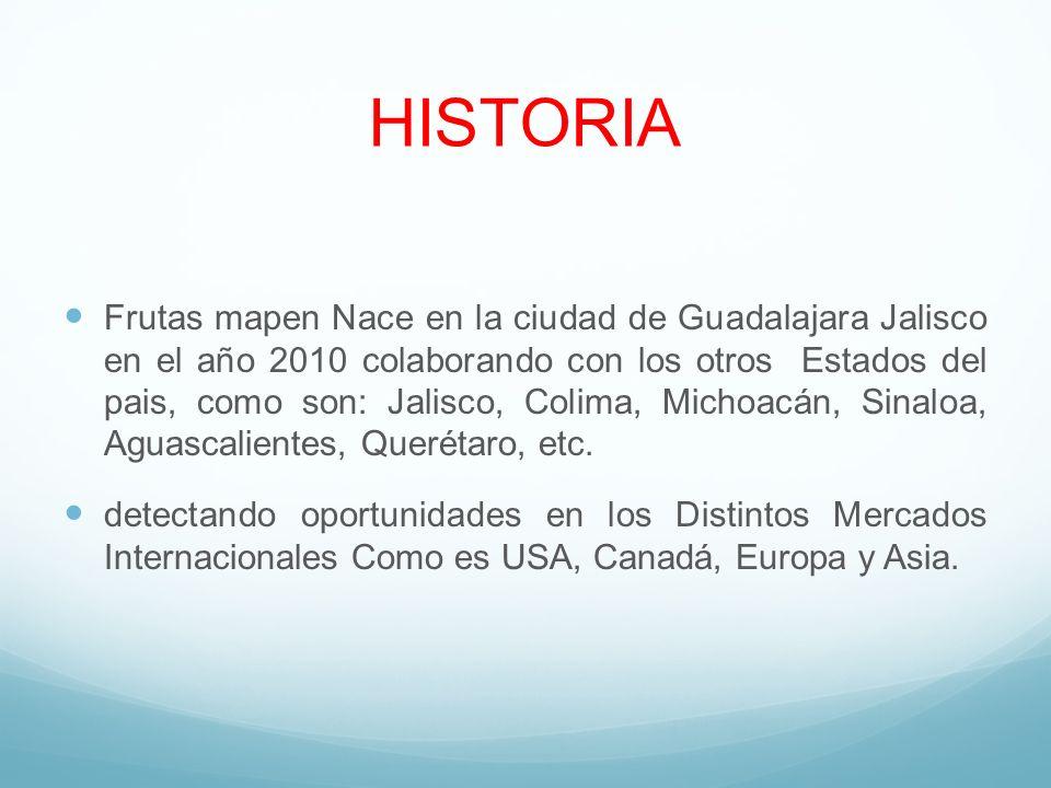 HISTORIA Frutas mapen Nace en la ciudad de Guadalajara Jalisco en el año 2010 colaborando con los otros Estados del pais, como son: Jalisco, Colima, M