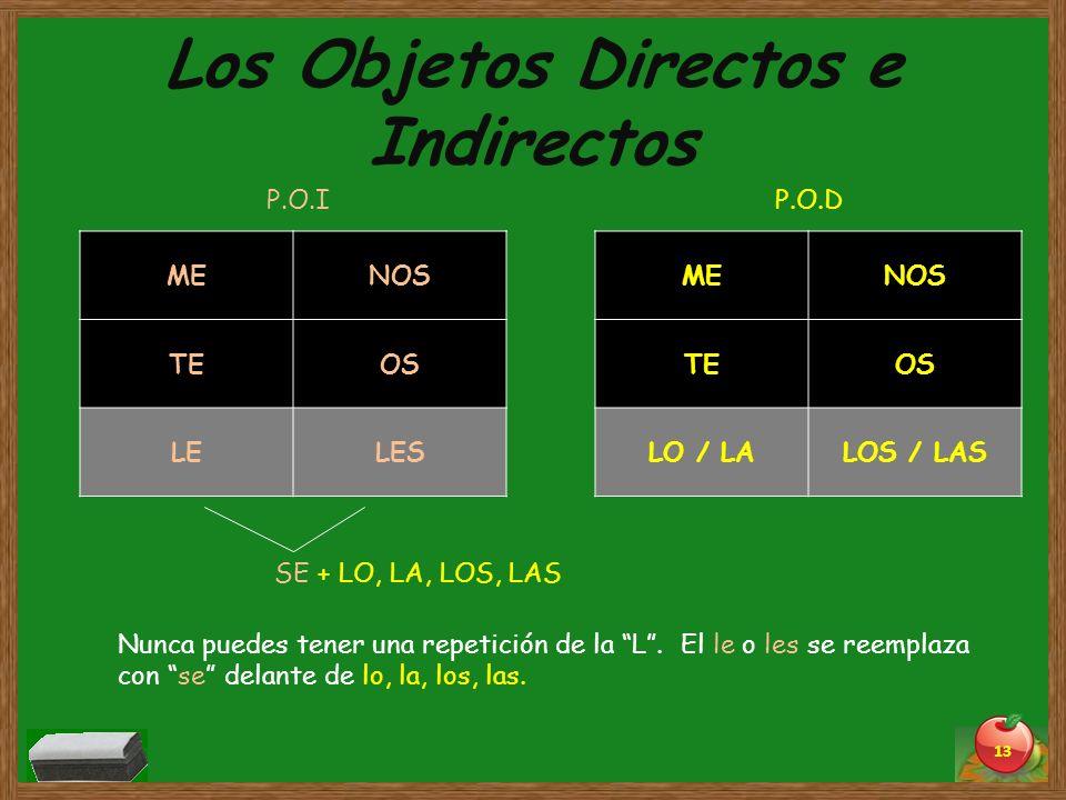 Los Objetos Directos e Indirectos 13 MENOS TEOS LO / LALOS / LAS MENOS TEOS LELES P.O.IP.O.D SE + LO, LA, LOS, LAS Nunca puedes tener una repetición d