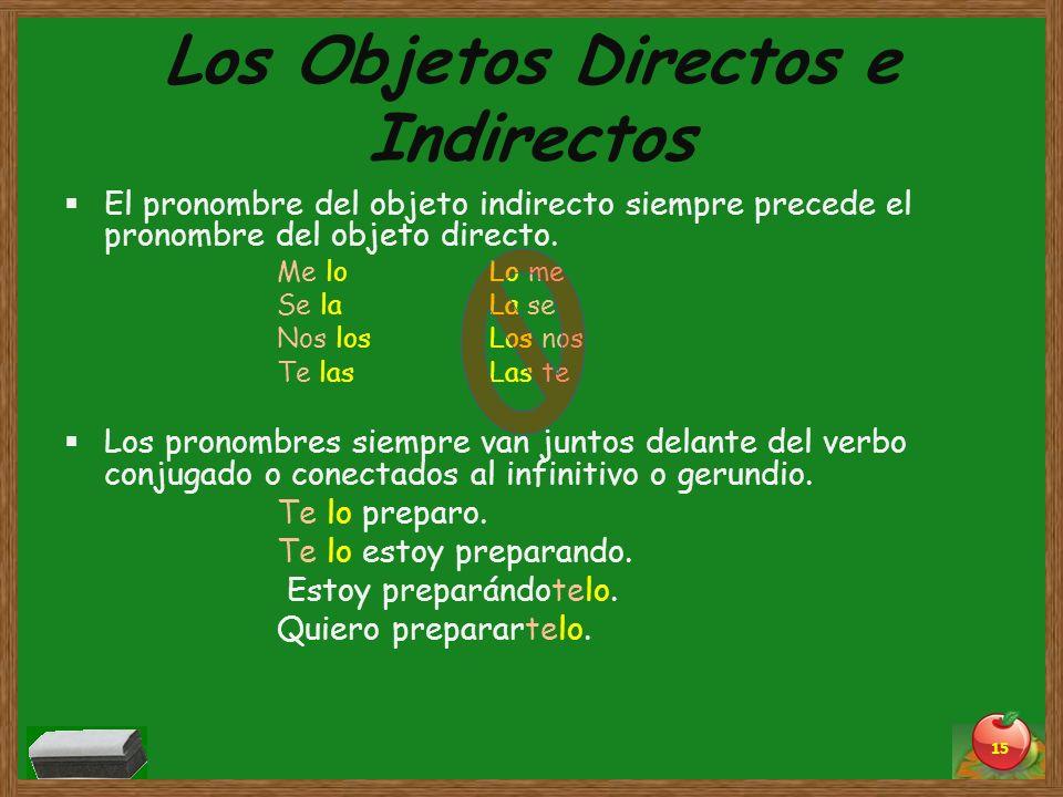 Los Objetos Directos e Indirectos El pronombre del objeto indirecto siempre precede el pronombre del objeto directo. Me loLo me Se laLa se Nos losLos