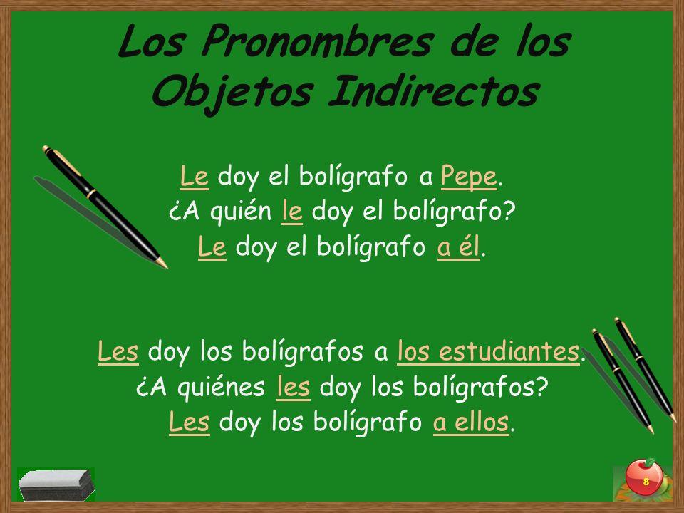 Los Pronombres de los Objetos Indirectos Le doy el bolígrafo a Pepe. ¿A quién le doy el bolígrafo? Le doy el bolígrafo a él. Les doy los bolígrafos a