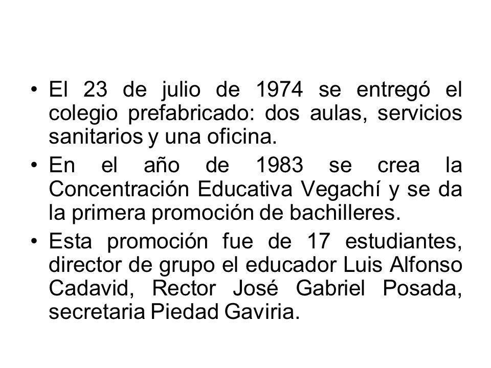 El 23 de julio de 1974 se entregó el colegio prefabricado: dos aulas, servicios sanitarios y una oficina. En el año de 1983 se crea la Concentración E
