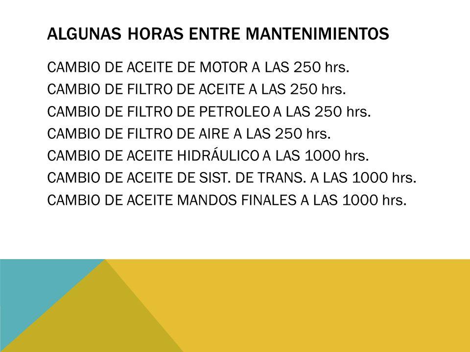 ALGUNAS HORAS ENTRE MANTENIMIENTOS CAMBIO DE ACEITE DE MOTOR A LAS 250 hrs. CAMBIO DE FILTRO DE ACEITE A LAS 250 hrs. CAMBIO DE FILTRO DE PETROLEO A L