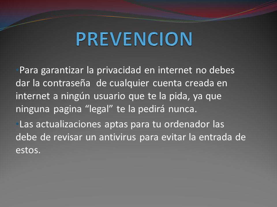Para garantizar la privacidad en internet no debes dar la contraseña de cualquier cuenta creada en internet a ningún usuario que te la pida, ya que ninguna pagina legal te la pedirá nunca.