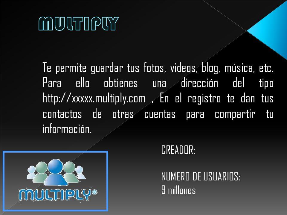 Te permite guardar tus fotos, videos, blog, música, etc. Para ello obtienes una dirección del tipo http://xxxxx.multiply.com, En el registro te dan tu
