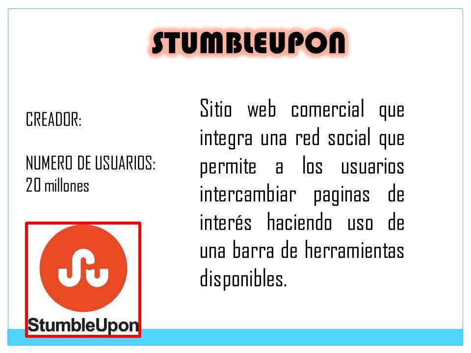 Sitio web comercial que integra una red social que permite a los usuarios intercambiar paginas de interés haciendo uso de una barra de herramientas di