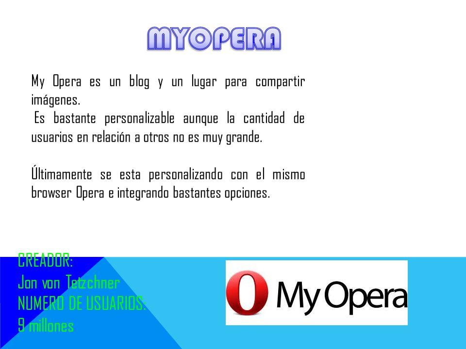 My Opera es un blog y un lugar para compartir imágenes. Es bastante personalizable aunque la cantidad de usuarios en relación a otros no es muy grande