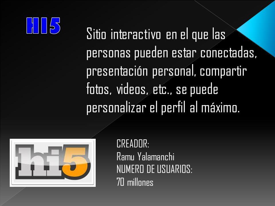 Sitio interactivo en el que las personas pueden estar conectadas, presentación personal, compartir fotos, videos, etc., se puede personalizar el perfi