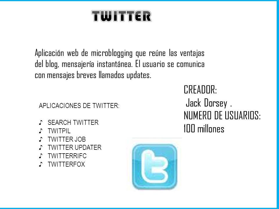 Aplicación web de microblogging que reúne las ventajas del blog, mensajería instantánea. El usuario se comunica con mensajes breves llamados updates.