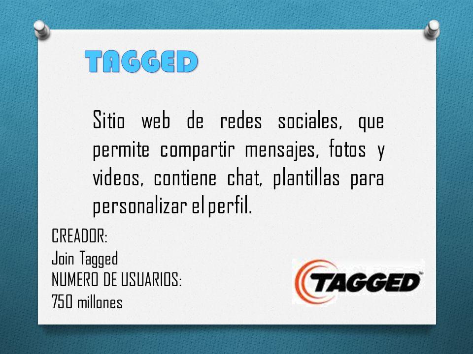 Sitio web de redes sociales, que permite compartir mensajes, fotos y videos, contiene chat, plantillas para personalizar el perfil. CREADOR: Join Tagg