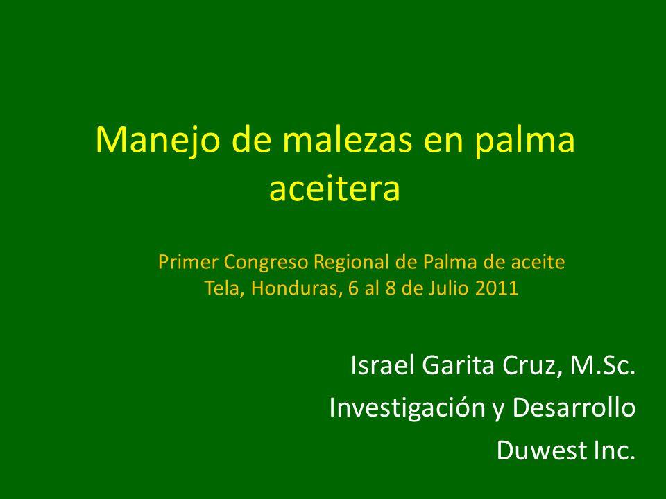 Manejo de malezas en palma aceitera Israel Garita Cruz, M.Sc. Investigación y Desarrollo Duwest Inc. Primer Congreso Regional de Palma de aceite Tela,