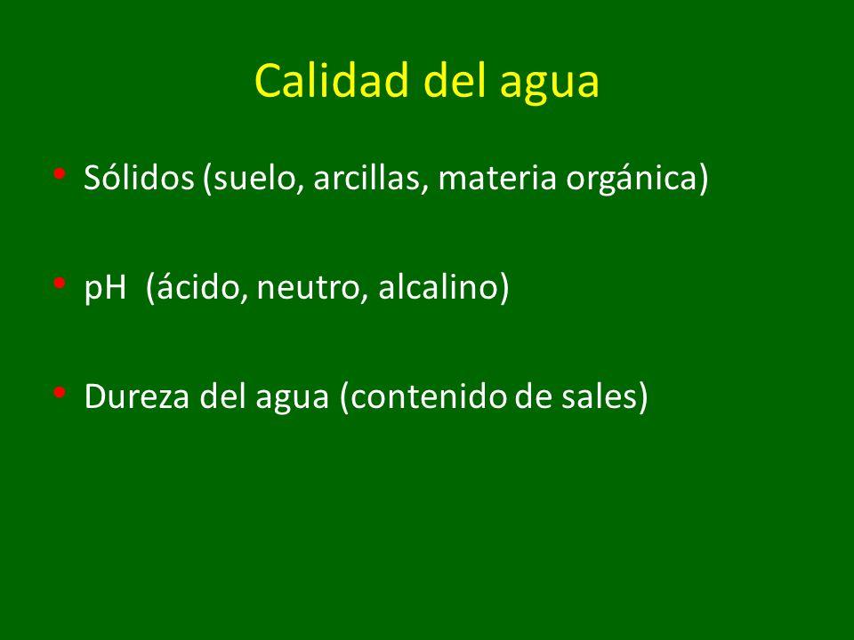 Calidad del agua Sólidos (suelo, arcillas, materia orgánica) pH (ácido, neutro, alcalino) Dureza del agua (contenido de sales)