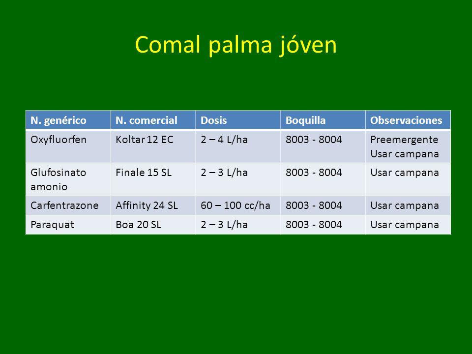 Comal palma jóven N. genéricoN. comercialDosisBoquillaObservaciones OxyfluorfenKoltar 12 EC2 – 4 L/ha8003 - 8004Preemergente Usar campana Glufosinato