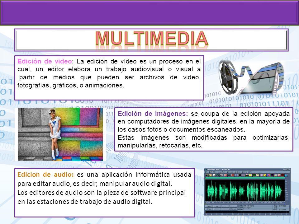 Edición de video: La edición de vídeo es un proceso en el cual, un editor elabora un trabajo audiovisual o visual a partir de medios que pueden ser ar