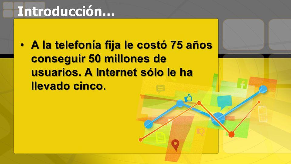 Introducción… A la telefonía fija le costó 75 años conseguir 50 millones de usuarios. A Internet sólo le ha llevado cinco.A la telefonía fija le costó