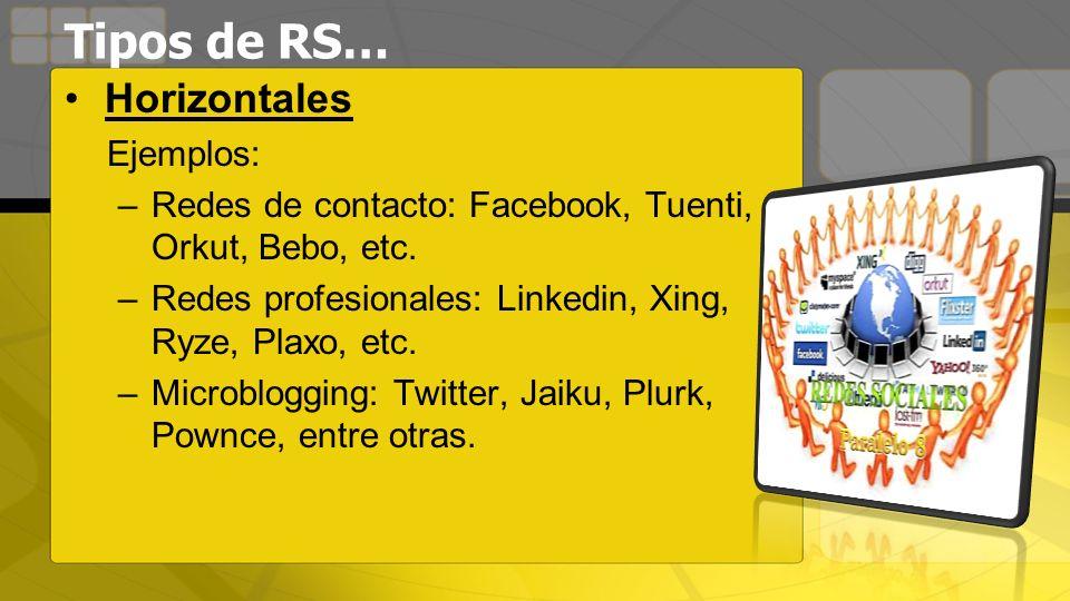 Tipos de RS… Horizontales Ejemplos: –Redes de contacto: Facebook, Tuenti, Orkut, Bebo, etc. –Redes profesionales: Linkedin, Xing, Ryze, Plaxo, etc. –M