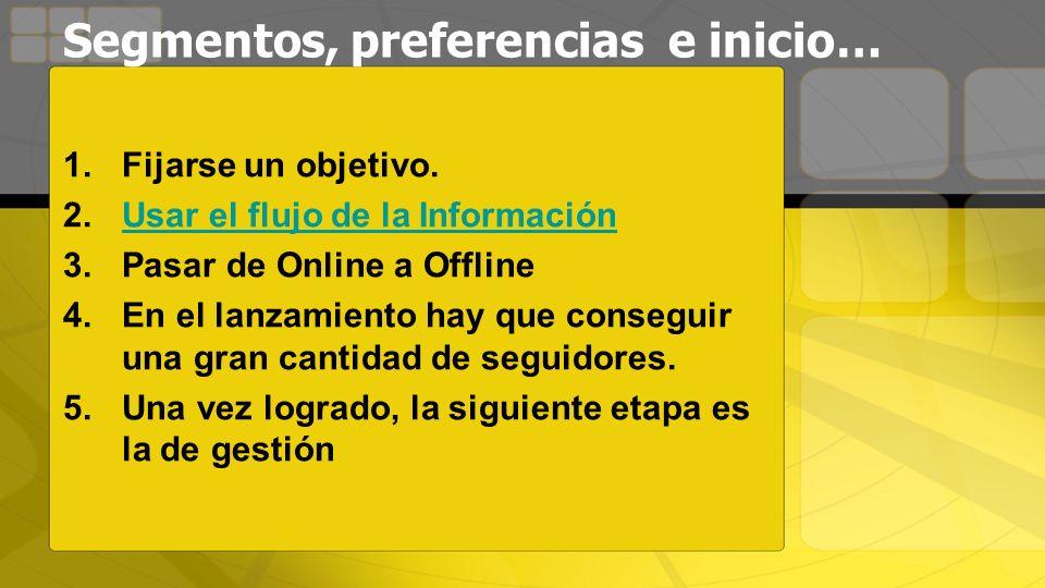 Segmentos, preferencias e inicio… 1.Fijarse un objetivo. 2.Usar el flujo de la InformaciónUsar el flujo de la Información 3.Pasar de Online a Offline